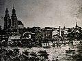 Widok Gniezna z zachodniego brzegu jeziora Jelonek.Drzeworyt z lat 80. XIX wieku.JPG