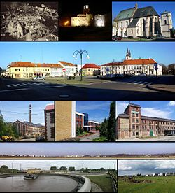 Top left:View of damage of Wieluń by air raid on September 1, 1939, Top middle:Night View of Wieluń City Hall, Top right:Corpus Christi Basilica, 2nd:Legionow Square, 3rd left:Sugar Wieluń headquarters, 3rd middle: Wieluń International Trading Center, 3rd right:Former site of Wieluń Mill Company, Bottom:Panorama view of around Wieluń