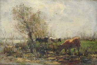 Willem Maris - Cows at a Lake - Oil on canvas.