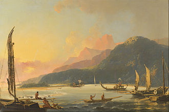 Mutiny on the Bounty - Matavai Bay, Tahiti, as painted by William Hodges in 1776