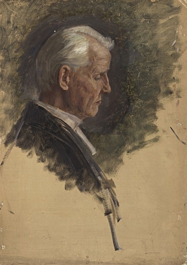 Ohne Titel (Kopf eines segnenden Pfarrers im Profil, Oberhofprediger?). Studie zum Gemälde \