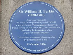 Photo of William Henry Perkin blue plaque