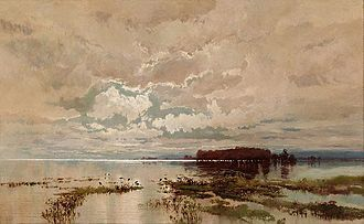 Darling River - The flood in the Darling, 1890, oil on canvas by William Charles Piguenit