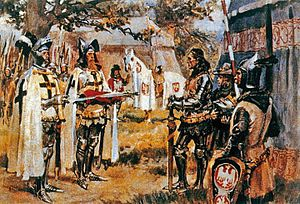Grunwald Swords - Two Swords by Wojciech Kossak (c. 1909). In this painting, the swords are being presented by members of the Teutonic Order, wearing their distinctive white cloaks, rather than by messengers bearing the heraldic devices described by Długosz.