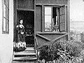 Woman, portrait, porch, fashion, garden Fortepan 12933.jpg