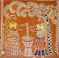 Women pounding grain, traditional wall painting by villagers, near Katni, M.P., India.jpg