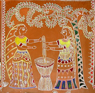 Women pounding grain, traditional wall painting by villagers, near Katni, M.P., India.jpg