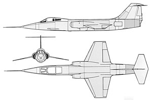 Line drawings showing top, side and front view of aircraft