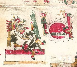 "Xolotl - Codex Borgia (p. 38) Xolotl with Xiuhcoatl ""Fire Serpent"""