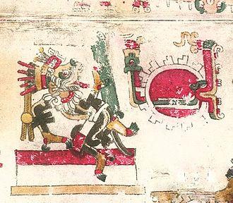 "Xolotl - Codex Borgia (p. 38) Xolotl with Xiuhcoatl ""Fire Serpent"""