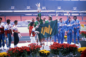 Australia at the 1988 Summer Paralympics - Members of the Australian 4 × 100 m amputee relay during the medal ceremony at the 1988 Seoul Paralympic Games