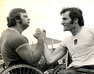 Ray Barrett (athlete) - Ray Barrett (right) poses with fellow New South Wales Paralympian Terry Giddy.