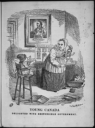 "Responsible government - Punch in Canada, February 3, 1849 by Frederick William Lock depicting ""Young Canada"" being ""delighted"" by Lord Elgin pulling the strings of ""Responsible Government"""
