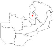 Location of Mansa in Zambia