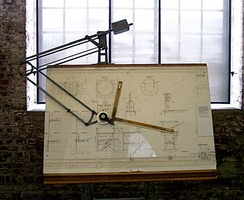 Historic drafting board with double parallelogram linkages and balancing mass