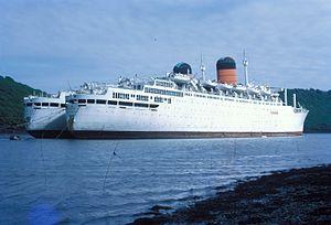 RMS Ivernia - Franconia and Carmania Laid up on the River Fal.