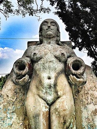 Luz Jiménez - Fuente de los Cántaros (Fountain of the jugs) by  José María Fernández Urbina in Parque México, Condesa, Mexico City, for which Jiménez modeled