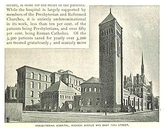 Presbyterian Hospital (New York City) - The original Presbyterian Hospital located Madison Aveune and East 70th Street.