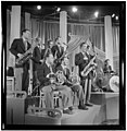 (Portrait of Sandy Siegelstien, Willie Wechsler, Micky Folus, Joe Shulman, Billy Exiner, Mario Rullo, Danny Polo, Lee Konitz, and Bill Bushing, Columbia Pictures studio, the making of Beautiful Doll, (4843762242).jpg