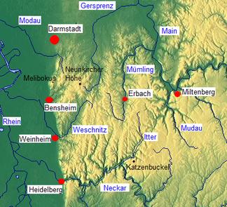 Übersichtskarte Odenwald