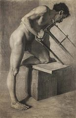 Male nude sawing a board.