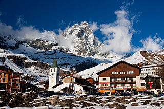 Breuil-Cervinia human settlement in Italy