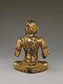 遼 青銅鎏金五髻文殊菩薩像-Manjushri, Bodhisattva of Wisdom, with Five Knots of Hair (Wuji Wenshu) MET DP170207.jpg