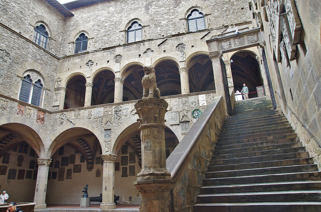 Beautiful arches and interior staircase inside the Bargello National Museum