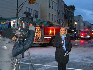 WNYW - Fox 5 reporter Lisa Evers reporting on a January 2012 fire in Union City, New Jersey.