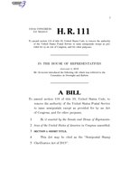 116th United States Congress H. R. 0000111 (1st session) - Semipostal Stamp Clarification Act of 2019.pdf
