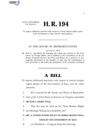116th United States Congress H. R. 0000194 (1st session) - Iran Human Rights and Hostage-Taking Accountability Act.pdf
