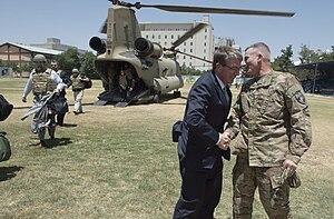 John W. Nicholson Jr. - Nicholson greets U.S. Secretary of Defense Ash Carter, Kabul, 12 July 2016