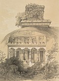 Tinted lithograph of the temples from the front