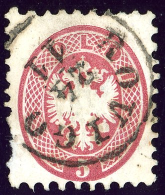 Rovigo - Stamp of Lombardy and Venetia, 5 soldi issue 1864, cancelled at ROVIGO