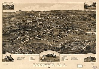 Anniston, Alabama - This panoramic map with marked points of interest illustrates a bird's-eye view of Anniston, Alabama, in 1887, fourteen years after the town was chartered in 1873. The 1880 census showed a population of 942 and, by 1890, the population was 9,998.