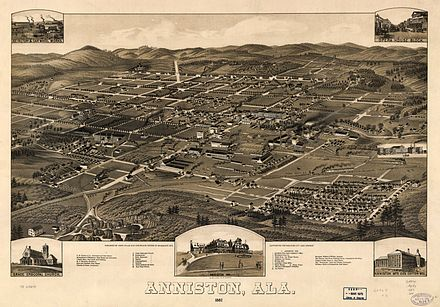 This panoramic map by Henry Wellge with marked points of interest illustrates a bird's-eye view of Anniston, Alabama, in 1887, fourteen years after the town was chartered in 1873. The 1880 census showed a population of 942 and, by 1890, the population was 9,998. 1887 Perspective Map of Anniston Alabama.jpg