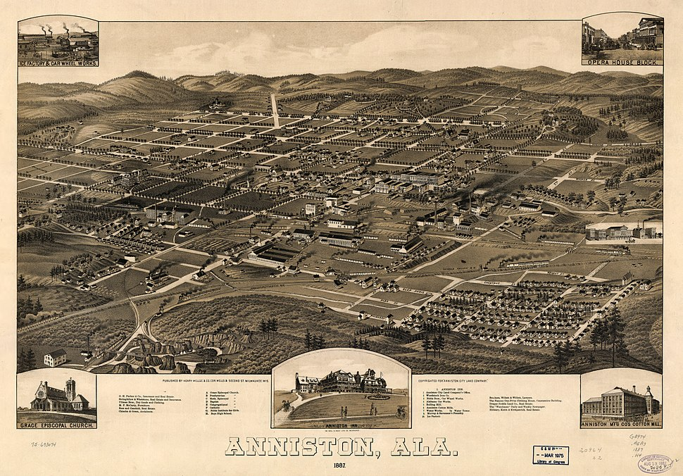 1887 Perspective Map of Anniston Alabama