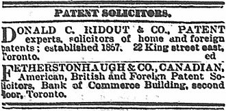 F. B. Fetherstonhaugh - Advertisement for Patent Solicitors in The Globe, May 2, 1890