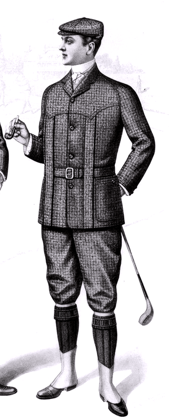 Norfolk jacket - Golfing costume consisting of Norfolk jacket and knickerbockers. Detail of a fashion plate from the Sartorial Arts Journal, New York, 1901