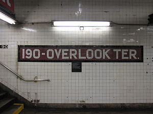 190th Street (IND Eighth Avenue Line) - Mosaics within the alcove (top) and with former name (bottom)