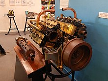 an early rotary valve w16 engine designed in 1916 by frenchman gaston  mougeotte