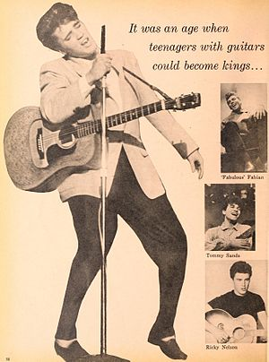 Teen idol - Teen idols of the 1950s include Elvis Presley, Fabian Forte, Tommy Sands, and Ricky Nelson, as pictured