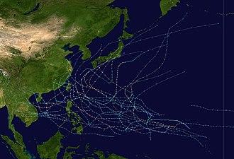 1990 Pacific typhoon season - Image: 1990 Pacific typhoon season summary