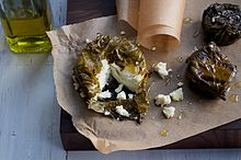 A The Greek Kiss, a grape-leaf wrapped disc of Belle Chevre.
