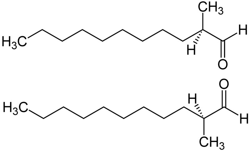 File:2-Methylundecanal Structural Formulae of both Enantiomers.png