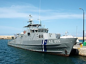 Hellenic Coast Guard - Patrol boat ΛΣ-015 of Dilos class in port in Crete.