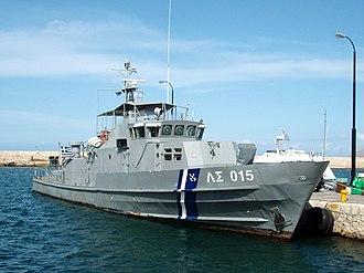 Hellenic Coast Guard - Patrol boat ΛΣ-015 of Dilos class in port in Crete.
