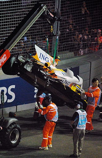 Renault Formula One crash controversy - The wrecked Renault R28 car driven by Nelson Piquet Jr. at the centre of the controversy