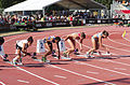 2013 IPC Athletics World Championships - 26072013 - Dilba Tanrikulu of Turkey, Albertina Johannes of Namibia, Katarzyna Piekart of Poland and Tereza Jakschova of Czech Republic during the Women's 100m - T46 second semifinal 1.jpg