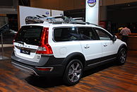 Rear passenger side view of white XC70